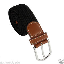 New Men Leather Braided Elastic Stretch Metal Buckle Belt Waistband UK
