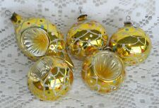 5 Vintage Glass Christmas Tree Ornaments Gold Ball Indent Confetti Colombia