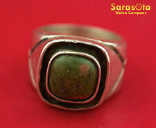Sterling Silver Green Agate Man's Pinky Ring Size 8