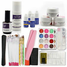 UV Gel Manicure Pen Brush Acrylic Powder Glue File Nail Art Tools Starter Kits