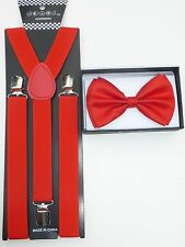 New SUSPENDER & BOW TIE Matching Colors COMBO SET Tuxedo Wedding Suit  US SELLER