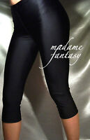 SHORT BLACK SHINY OPAQUE SPANDEX LEGGINGS XS-XXXL Tall