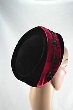 VINTAGE 1960s TALBERT New York black and pink velvet pillbox hat with sequins