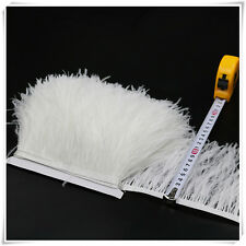 2 Plys White Ostrich Feather Trims Fringes Sewn on Feather 1 Yard
