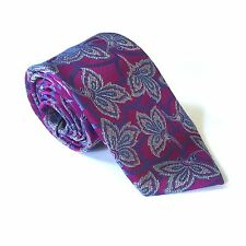 NWT $205 Ermenegildo Zegna Mens Purple Floral Leaf Woven 100% Silk Tie AUTHENTIC