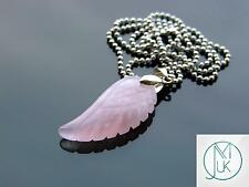 Rose Quartz Gemstone Angel Wing Pendant Necklace Natural Chakra Healing Stone