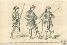 Uniforms Dragoons Dragons Legion Saxonny Grenadiers Uhlan GRAVURE OLD PRINT 1866