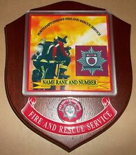 Northamptonshire Fire and Rescue Service wall plaque personalised free of charge