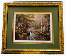 THOMAS KINKADE 'HOMETOWN EVENING' SIGNED FRAMED PRINT