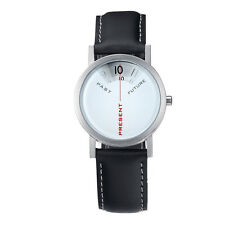 "Projects Watches ""Past, Present, Future"" Acier Quartz Cuir Femme Montre Blanc"
