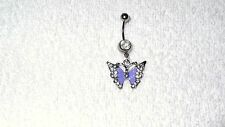 Light Purple Butterfly Crystal Belly Navel Ring Body Jewelry Piercing 14g