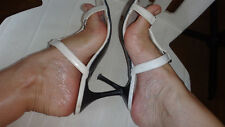 Well worn white heels sandals used 38