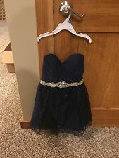 Girls/junior/teen Formal Short Dress Navy And Silver By My Michelle Size 3 Cute!