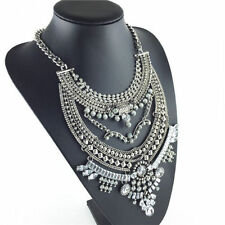 *uk* 3 layers Crystal Chain Pendant Necklace Pendant Exaggeration Statement gift