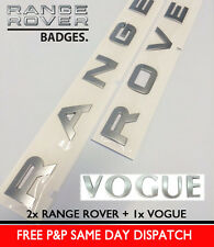 SILVER RANGE ROVER VOGUE LETTERS BADGE LETTERING L322 P38 REAR BONNET BOOT HOOD