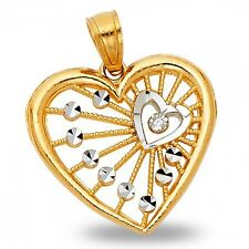 Heart Pendant Solid 14k Yellow & White Gold Love Charm Filigree Two Tone Genuine