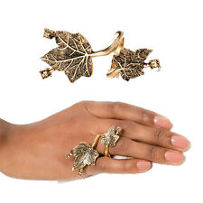 Vintage Gold Crystals Embellished Ivy Leaves Open Rings Women Gingko-leaf Jewel