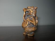 NETSUKE DRAGON FIGURINE BOXWOOD JAPANESE HANDMADE CARVING HANDCARVED SIGNED