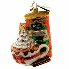 Christopher Radko WINTER WARM UP Blown Glass Ornament Hot Chocolate Cocoa