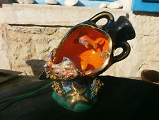 Vintage Vallauris Fish lamp, Kitsch, 1950's/60's, Majolica French pottery retro