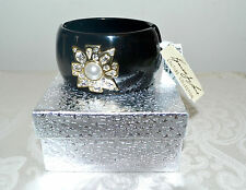 NWT $170 KENNETH JAY LANE Black Resin Maltese Cross Cuff Bracelet Pearl Crystal