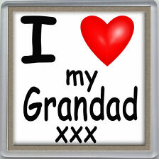 I LOVE MY GRANDAD HEART DRINKS COASTER CELEBRATION, BIRTHDAY, FATHERS DAY GIFT