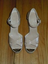 "JIMMY CHOO ""PALLIS"" NUDE PATENT LEATHER WEDGE SANDAL NWOB SIZE 42(12)"