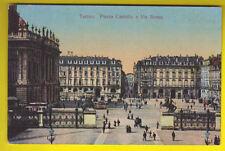 Cartolina TORINO 1910 ca. - Piazza Castello e Via Roma con TRAM Animata