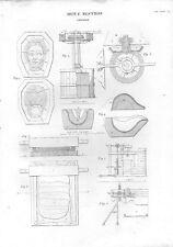 Stampa antica PRODUZIONE STOVIGLIE diverse attrezzature 1848 Old print