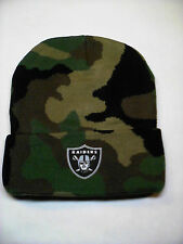PLEASE READ LISTING! Oakland Raiders Applique on CAMO Beanie Knit Cap hat!