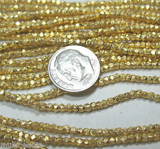 "Bright GP Gold Plated 1.5x2mm Faceted Textured Tube Nugget Beads 7"" Great Spacer"