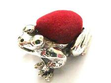 Sterling Silver Red Toad Frog Prince Sewing Pin Cushion Ink Blot Edwardian style