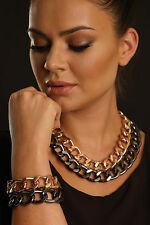 CABOUCHON ROSE-GOLD COLOURED CHUNKY CHAIN NECKLACE- BRAND NEW