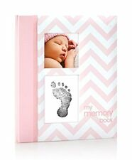 Pearhead Baby Girl Photo Journal Album Book with Clean-Touch Ink Pad Pink Memory
