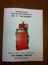 Van Norman 444 Instruction Flywheel Grinder Manual