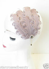 Grey Feather Fascinator Headband Curly Races Headpiece Vintage 1940s Silver N03