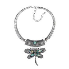 D30 Dragonfly Abalone Shell Antiqued Textured Silver Necklace & Earring Set