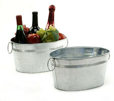Medium Oval Galvanized Metal Steel Tub Bucket Pail Bin Storage Container Drink