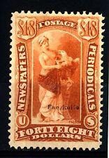"""USA - STATI UNITI - 1875 - FAC-SIMILE marca per giornali. """"HEBE"""", 48 $ rossobrun"""