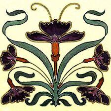 """Nouveau Art Tile Backsplash Back Splash Ceramic 6"""" Border Deco Accent"""