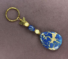 BLUE MAGNESITE LAPIS LAZULI BUTTERFLY KEY CHAIN Totem Stone Monarch Ring Gold