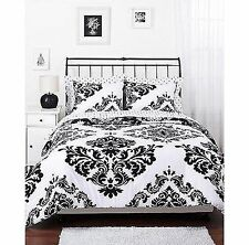 Bedding Set Black and Whie Reversible Comforter Noir Quilt Full QUEEN King Size