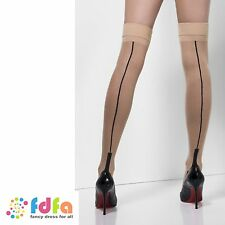NUDE BLACK SEAMED CUBAN HEEL HOLD UPS STOCKINGS ladies accessory womens hosiery
