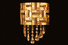 Contemporary Designer Gold Mosaic Wall Lamp with 2x3W Integrated white LED light