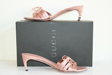 Authentic Gucci Peach Sandals, SIZE. 8B, w/gold bamboo heel, mint condition