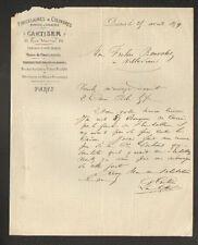 """PARIS (X°) VERRERIE de BAGNEAUX-sur-LOING (77) PORCELAINES """"CARTISER"""" en 1879"""
