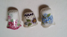 Set of 3 1983 Heirloom Editions Thimbles Royal Pansy + Forget Me Not + Roses