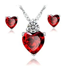 Caratcube Bright Red Austrian Crystal Heart Shape Pendant Set With Earrings
