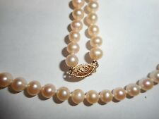 """14K gold 6mm Cream Cultured Pearl 16"""" Necklace choker Vintage Unused Old Mint"""