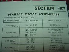 "MERCURY OUTBOARD PARTS ""SECTION E"" OLDER ELECTRIC STARTER PARTS MANUAL"